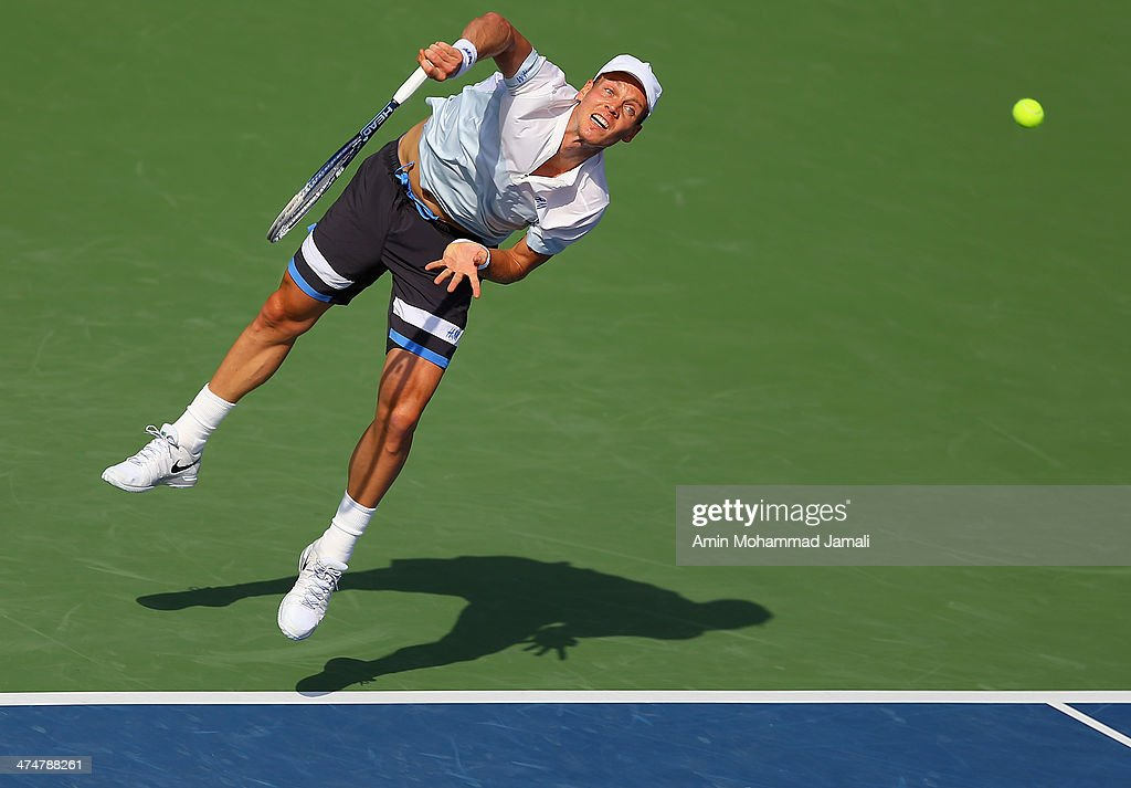 <a gi-track='captionPersonalityLinkClicked' href=/galleries/search?phrase=Tomas+Berdych&family=editorial&specificpeople=239147 ng-click='$event.stopPropagation()'>Tomas Berdych</a> of Czech Republic in action during his first round match against Marius Copil of Romania on day 2 of the Dubai Duty Free Tennis ATP Championships on February 25, in Dubai, United Arab Emirates.