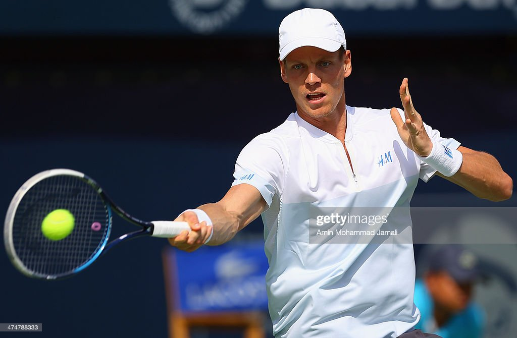 Tomas Berdych of Czech Republic in action during his first round match against Marius Copil of Romania on day 2 of the Dubai Duty Free Tennis ATP Championships on February 25, in Dubai, United Arab Emirates.