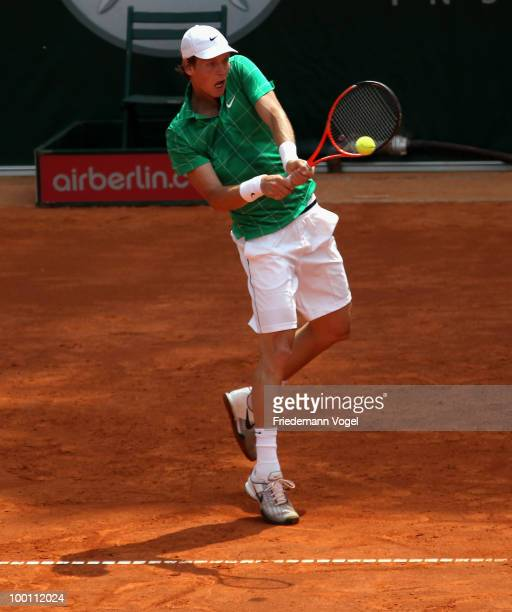 Tomas Berdych of Czech Republic in action during his match against John Isner of USA during day six of the ARAG World Team Cup at the Rochusclub on...
