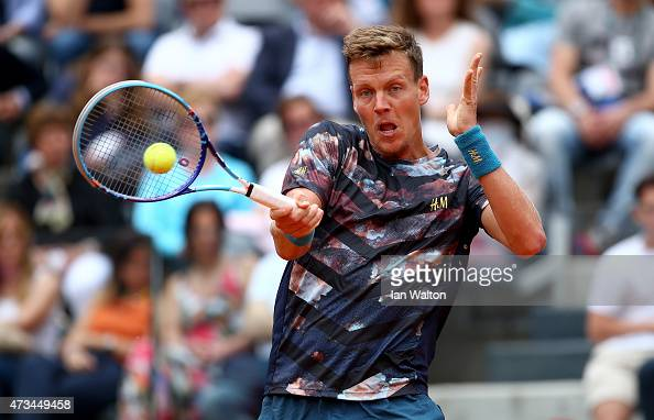 Tomas Berdych of Czech Republic in action during his match against Roger Federer of Switzerland on Day Six of the The Internazionali BNL d'Italia...