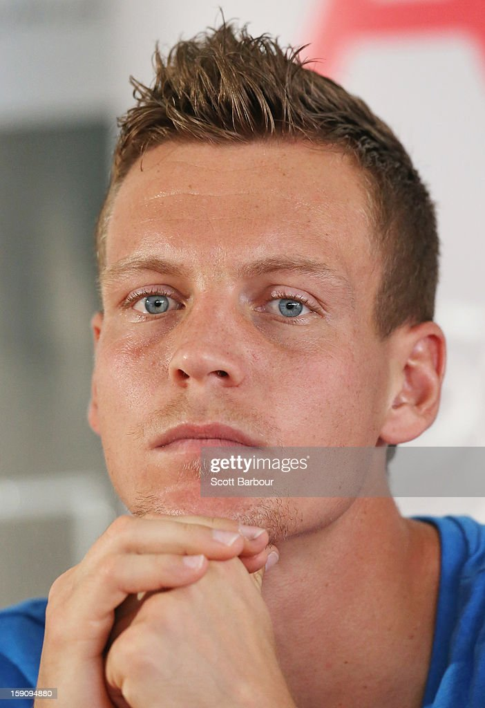 <a gi-track='captionPersonalityLinkClicked' href=/galleries/search?phrase=Tomas+Berdych&family=editorial&specificpeople=239147 ng-click='$event.stopPropagation()'>Tomas Berdych</a> of Czech Republic looks on during the AAMI Classic press conference at Kooyong on January 8, 2013 in Melbourne, Australia.