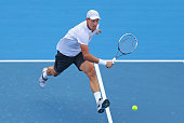 Tomas Berdych of Czech Republic plays a backhand during his match against Marcos Baghdatis of Cyprus during day four of the AAMI Classic at Kooyong...