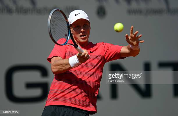 Tomas Berdych of Czech Republic plays a forehand during his match against Carlos Berlocq of Argentina during day five of Power Horse World Team Cup...