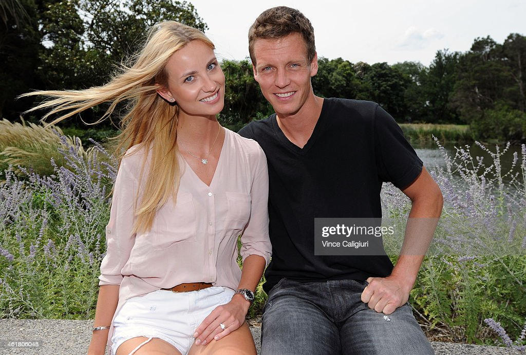 <a gi-track='captionPersonalityLinkClicked' href=/galleries/search?phrase=Tomas+Berdych&family=editorial&specificpeople=239147 ng-click='$event.stopPropagation()'>Tomas Berdych</a> of Czech Republic poses with his fiancee <a gi-track='captionPersonalityLinkClicked' href=/galleries/search?phrase=Ester+Satorova&family=editorial&specificpeople=8651510 ng-click='$event.stopPropagation()'>Ester Satorova</a> at Melbourne Botanical Gardens during the 2015 Australian Open on January 20, 2015 in Melbourne, Australia. Tomas and Ester announced that they will be getting married.