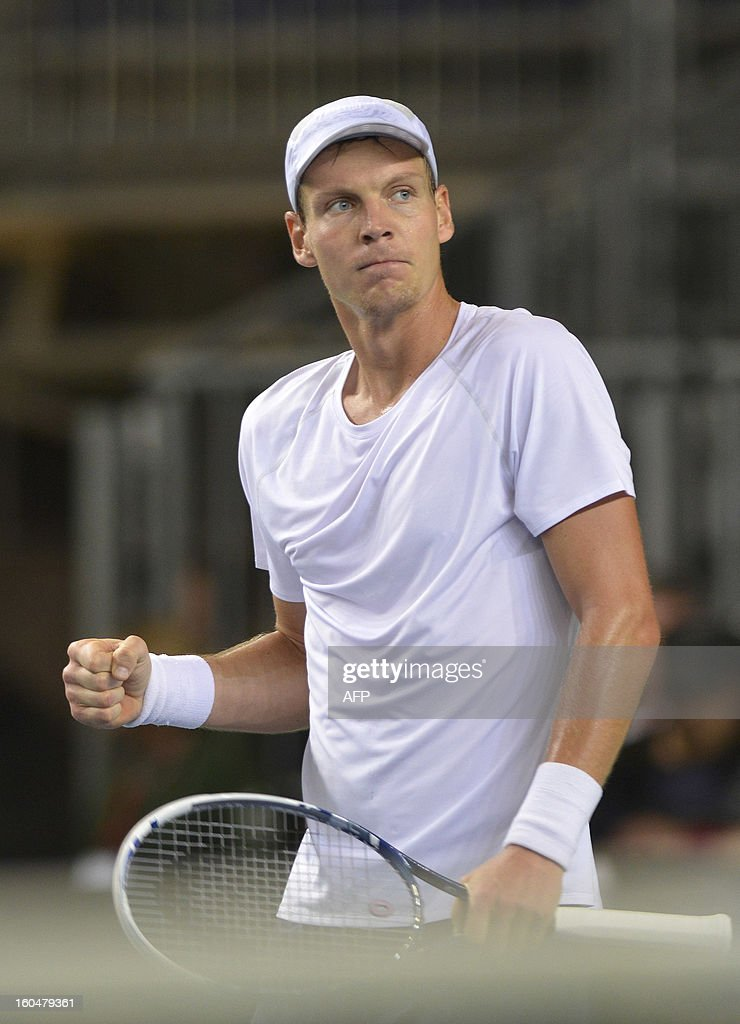 Tomas Berdych of Czech Republic reacts after beating Henri Laaksonen of Switzerland in the Davis Cup World Group first round match on February 1, 2013 in Geneva.