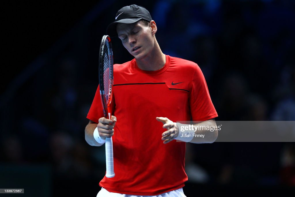 <a gi-track='captionPersonalityLinkClicked' href=/galleries/search?phrase=Tomas+Berdych&family=editorial&specificpeople=239147 ng-click='$event.stopPropagation()'>Tomas Berdych</a> of Czech Republic reacts during the men's singles match against Janko Tipsarevic of Serbia during the Barclays ATP World Tour Finals at the O2 Arena on November 23, 2011 in London, England.