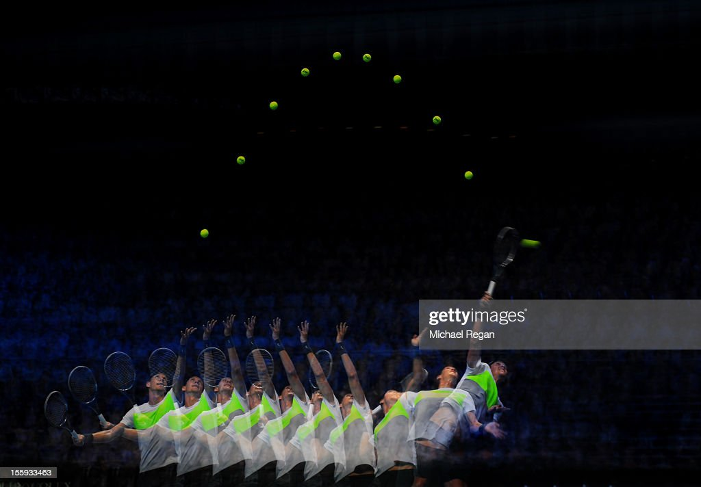 <a gi-track='captionPersonalityLinkClicked' href=/galleries/search?phrase=Tomas+Berdych&family=editorial&specificpeople=239147 ng-click='$event.stopPropagation()'>Tomas Berdych</a> of Czech Republic serves during his men's singles match against Novak Djokovic of Serbia on day five of the ATP World Tour Finals at O2 Arena on November 9, 2012 in London, England.