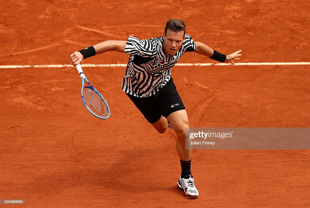<a gi-track='captionPersonalityLinkClicked' href=/galleries/search?phrase=Tomas+Berdych&family=editorial&specificpeople=239147 ng-click='$event.stopPropagation()'>Tomas Berdych</a> of Czech Republic volleys during the Men's Singles second round match against Malek Jaziri of Tunisia on day five of the 2016 French Open at Roland Garros on May 26, 2016 in Paris, France.