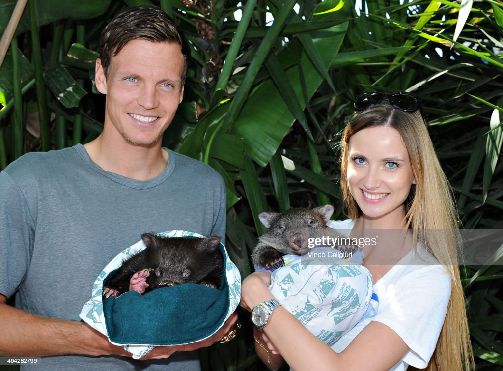 <a gi-track='captionPersonalityLinkClicked' href=/galleries/search?phrase=Tomas+Berdych&family=editorial&specificpeople=239147 ng-click='$event.stopPropagation()'>Tomas Berdych</a> of the Czech Republic and girlfriend Ester Satorova pose with Wombats at the player cafe during day 10 of the 2014 Australian Open at Melbourne Park on January 22, 2014 in Melbourne, Australia.