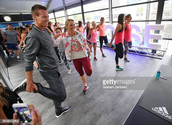 Tomas Berdych of the Czech Republic Caroline Wozniacki of Denmark Ana Ivanovic of Serbia and Andrea Petkovic of Germany stretch during the adidas ACE...
