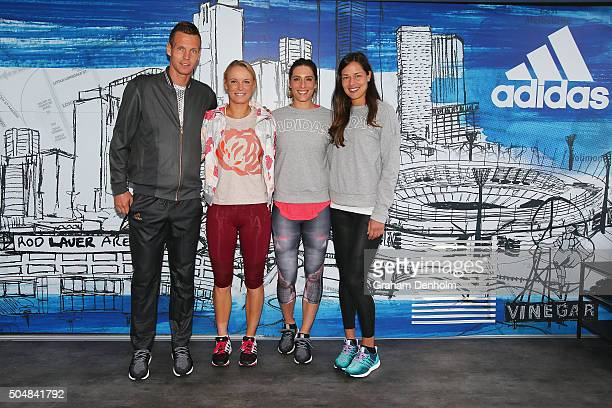 Tomas Berdych of the Czech Republic Caroline Wozniacki of Denmark Andrea Petkovic of Germany and Ana Ivanovic of Serbia pose during the adidas ACE...