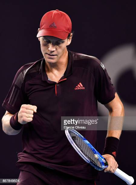 Tomas Berdych of the Czech Republic celebrates a point against Andrey Rublev of Russia during his Men's singles second round match on day six of the...