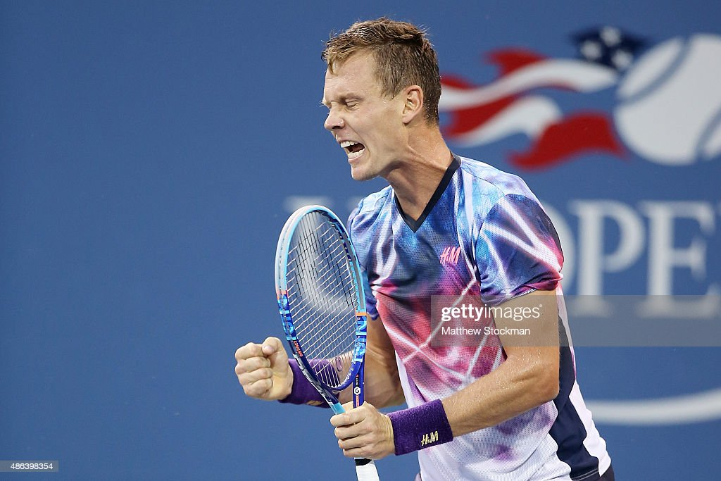 Tomas Berdych of the Czech Republic celebrates a point against Jurgen Melzer of Austria during their Men's Singles Second Round match on Day Four of...