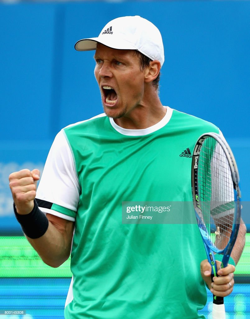 Tomas Berdych of The Czech Republic celebrates during the mens singles quarter final match against Feliciano Lopez of Spain on day five of the 2017 Aegon Championships at Queens Club on June 23, 2017 in London, England.