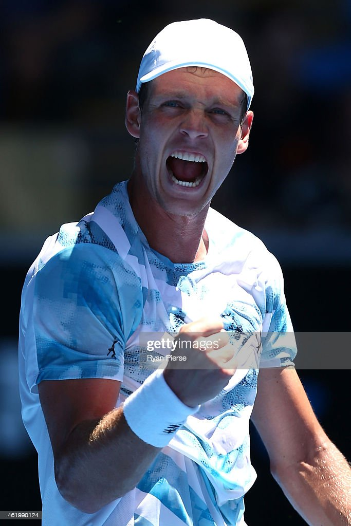 Tomas Berdych of the Czech Republic celebrates winning in his third round match against Viktor Troicki of Serbia during day five of the 2015...