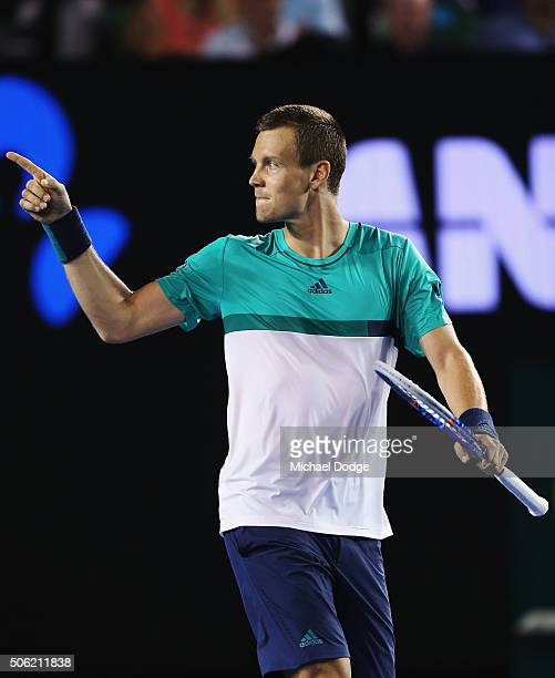 Tomas Berdych of the Czech Republic celebrates winning in his third round match against Nick Krygios of Australia during day five of the 2016...