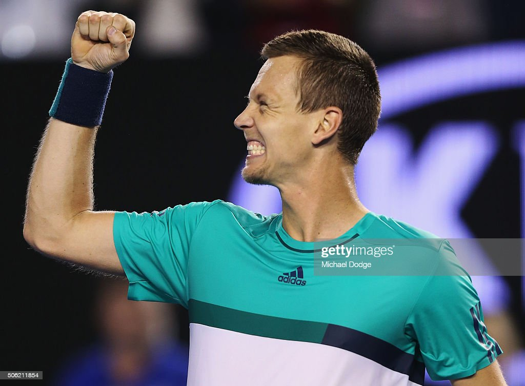 <a gi-track='captionPersonalityLinkClicked' href=/galleries/search?phrase=Tomas+Berdych&family=editorial&specificpeople=239147 ng-click='$event.stopPropagation()'>Tomas Berdych</a> of the Czech Republic celebrates winning in his third round match against Nick Krygios of Australia during day five of the 2016 Australian Open at Melbourne Park on January 22, 2016 in Melbourne, Australia.