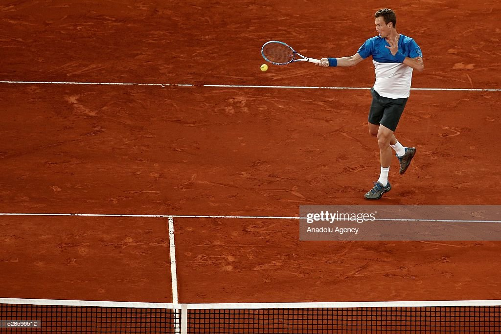 Tomas Berdych of the Czech Republic in action against Andy Murray of Great Britain in their quarter final round match during the Mutua Madrid Open tennis tournament at the Caja Magica in Madrid, Spain on May 06, 2016.