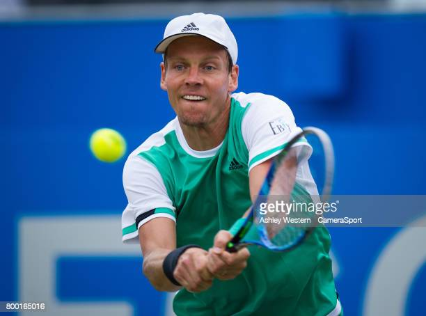 Tomas Berdych of The Czech Republic in action against Feliciano Lopez of Spain in their Men's Singles Quarter Final Match during Day 5 of the Aegon...