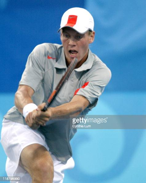 Tomas Berdych of the Czech Republic in action against Taylor Dent of the United States during the Athens 2004 Olympic Games Men's Tennis Single...