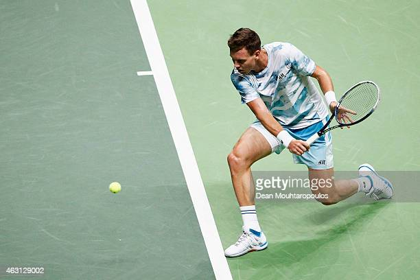 Tomas Berdych of the Czech Republic in action against Tobias Kamke of Germany during day 2 of the ABN AMRO World Tennis Tournament held at the Ahoy...