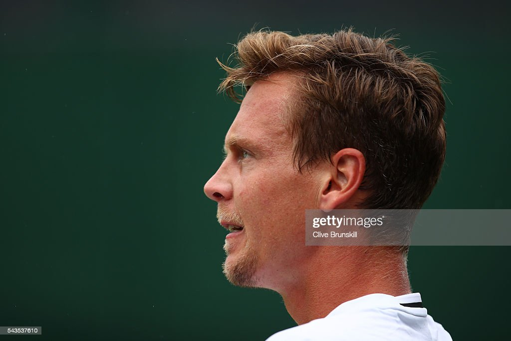 <a gi-track='captionPersonalityLinkClicked' href=/galleries/search?phrase=Tomas+Berdych&family=editorial&specificpeople=239147 ng-click='$event.stopPropagation()'>Tomas Berdych</a> of The Czech republic looks on during the Men's Singles first round match against Ivan Dodig of Croatia on day three of the Wimbledon Lawn Tennis Championships at the All England Lawn Tennis and Croquet Club on June 29, 2016 in London, England.