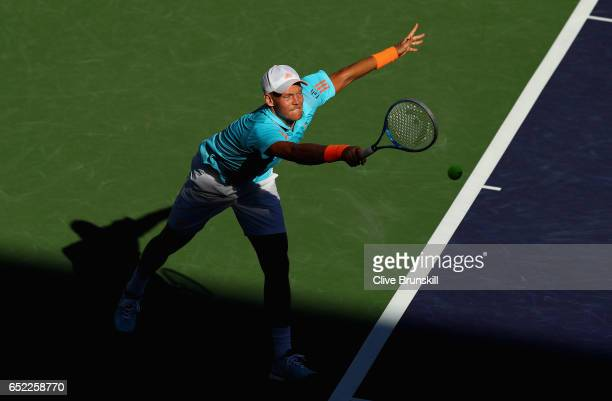 Tomas Berdych of the Czech Republic plays a forehand against Bjorn Fratangelo of the United States in their second round match during day six of the...