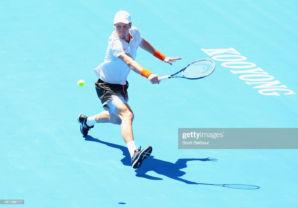Tomas Berdych of the Czech Republic plays a forehand during his match against Fernando Verdasco of Spain during day one of the 2014 AAMI Classic at...