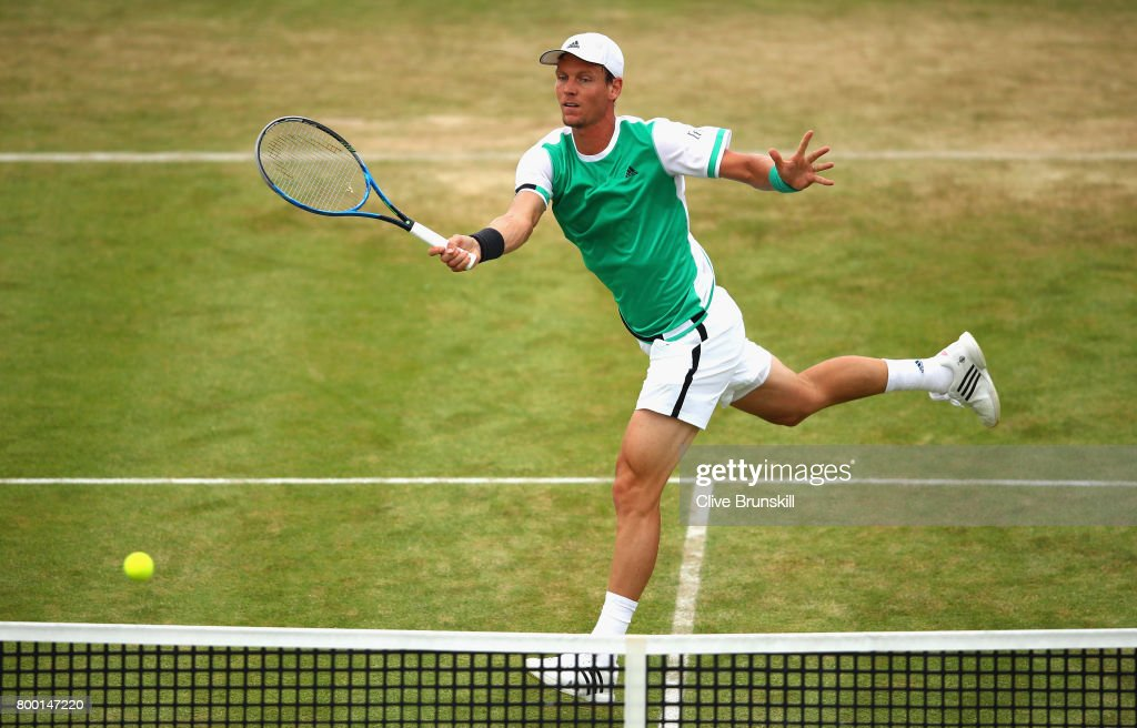Tomas Berdych of The Czech Republic plays a volley during the mens singles quarter final match against Feliciano Lopez of Spain on day five of the 2017 Aegon Championships at Queens Club on June 23, 2017 in London, England.