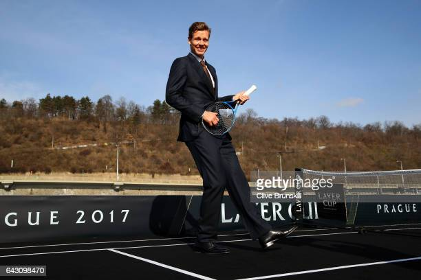 Tomas Berdych of The Czech Republic poses during the countdown to the inaugural Laver Cup on February 20 2017 in Prague Czech Republic