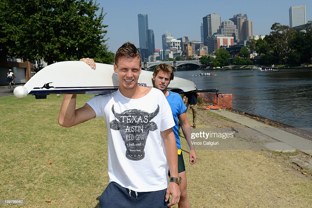 Tomas Berdych of the Czech Republic poses with Australian Olympic rower Will Lockwood along the Yarra River at the Rowing Sheds on day eight of the 2013 Australian Open on January 21, 2013 in Melbourne, Australia.