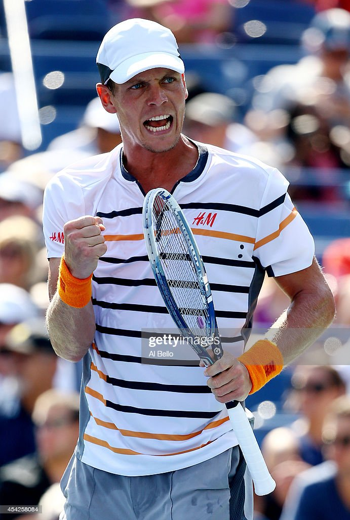 Tomas Berdych of the Czech Republic reacts after winning the second set against Lleyton Hewitt of Australia during their men's singles first round match on Day Three of the 2014 US Open at the USTA Billie Jean King National Tennis Center on August 27, 2014 in the Flushing neighborhood of the Queens borough of New York City.