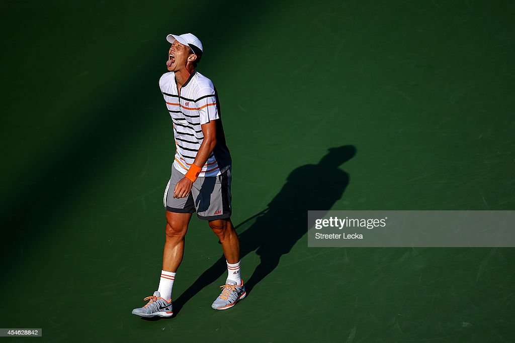 Tomas Berdych of the Czech Republic reacts against Marin Cilic of Croatia during their men's singles quarterfinal match on Day Eleven of the 2014 US Open at the USTA Billie Jean King National Tennis Center on September 3, 2014 in the Flushing neighborhood of the Queens borough of New York City.