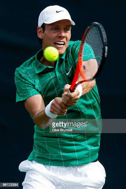 Tomas Berdych of the Czech Republic returns a shot against Horacio Zeballos of Argentina during day seven of the 2010 Sony Ericsson Open at Crandon...