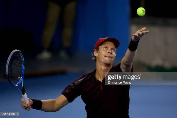 Tomas Berdych of the Czech Republic serves against Jared Donaldson of the USA on day four of the 2017 China Open at the China National Tennis Centre...