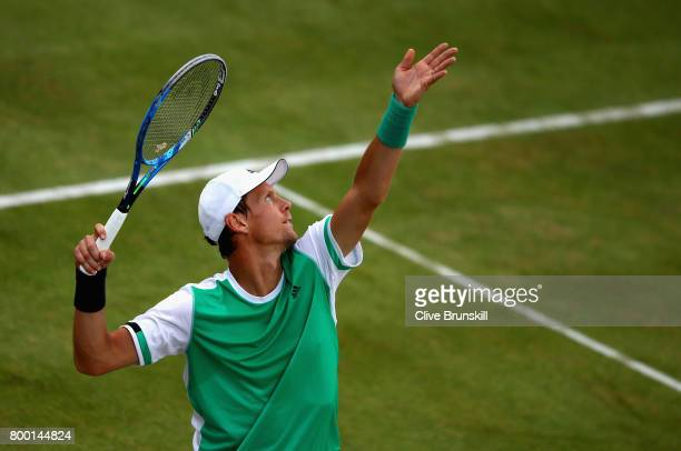 Thomas Berdych of The Czech Republic serves during the mens singles quarter final match against Feliciano Lopez of Spain on day five of the 2017...