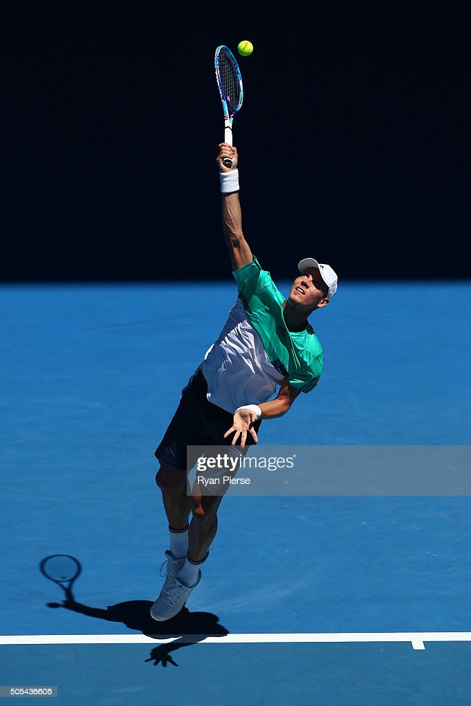 Tomas Berdych of the Czech Republic serves his first round match against Yuki Bhambri of India during day one of the 2016 Australian Open at...