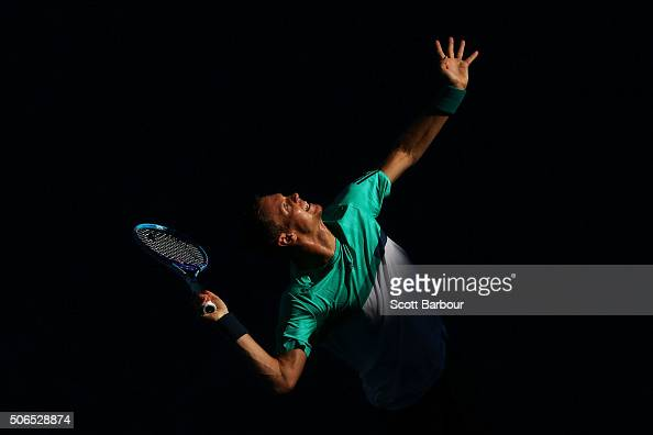 Tomas Berdych of the Czech Republic serves in his fourth round match against Roberto Bautista Agut of Spain during day seven of the 2016 Australian...