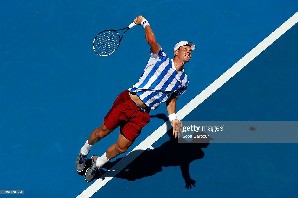 <a gi-track='captionPersonalityLinkClicked' href=/galleries/search?phrase=Tomas+Berdych&family=editorial&specificpeople=239147 ng-click='$event.stopPropagation()'>Tomas Berdych</a> of the Czech Republic serves in his third round match against Damir Dzumhur of Bosnia and Herzegovina during day five of the 2014 Australian Open at Melbourne Park on January 17, 2014 in Melbourne, Australia.