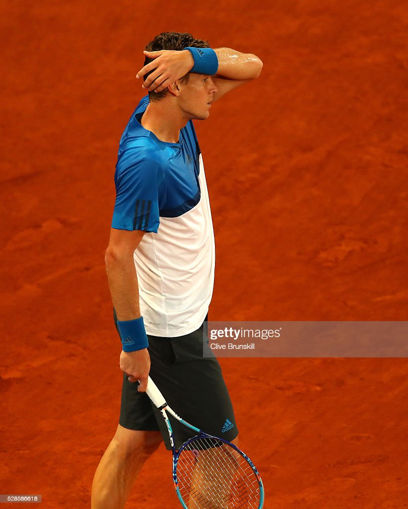 <a gi-track='captionPersonalityLinkClicked' href=/galleries/search?phrase=Tomas+Berdych&family=editorial&specificpeople=239147 ng-click='$event.stopPropagation()'>Tomas Berdych</a> of the Czech Republic shows his dejection against Andy Murray of Great Britain in their quarter final round match during day seven of the Mutua Madrid Open tennis tournament at the Caja Magica on May 06, 2016 in Madrid,Spain.