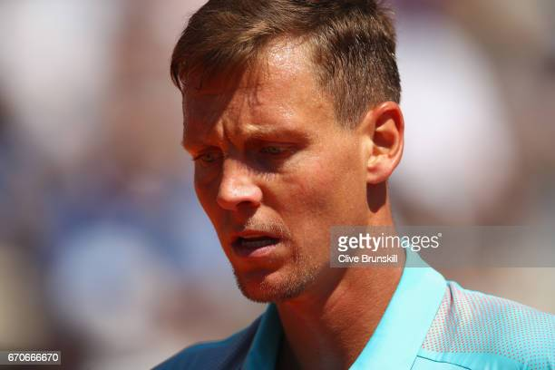 Tomas Berdych of the Czech Republic shows his dejection against Marin Cillic of Croatia in his third round match on day five of the Monte Carlo Rolex...
