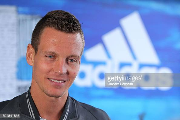 Tomas Berdych of the Czech Republic talks to the media during the adidas ACE Case Launch at Crown Entertainment Complex on January 14 2016 in...