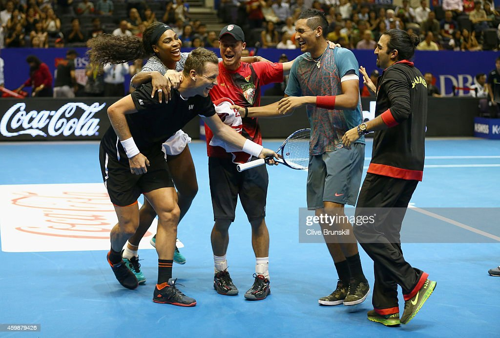 Tomas Berdych of the Singapore Slammers celebrates the super tie break against Gael Monfils of the Indian Aces after game scores where level at 2323...