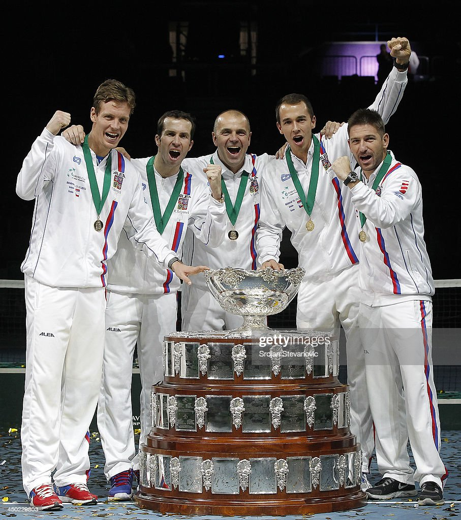 Tomas Berdych, Radek Stepanek team captain Vladimir Safarik, Lukas Rosol and Jan Hayek of Czech Republic hold the winners trophy aloft after a 3-2 victory against Serbia during day three of the Davis Cup World Group Final between Serbia and Czech Republic at Kombank Arena on November 17, 2013 in Belgrade, Serbia.