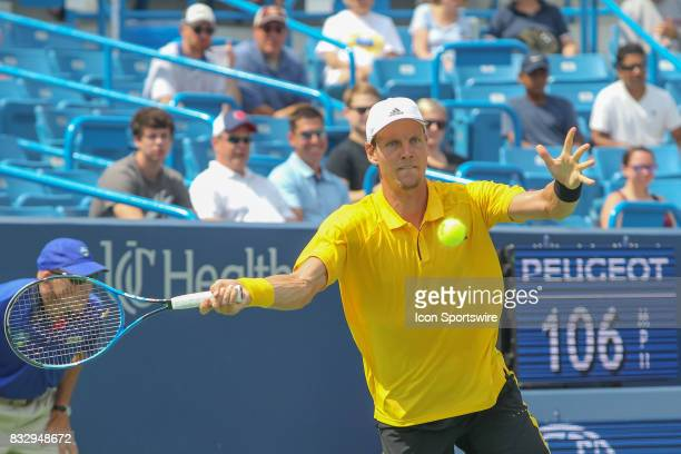 Tomas Berdych reaches for a forehand during the Western Southern Open at the Lindner Family Tennis Center in Mason Ohio on August 15 2017