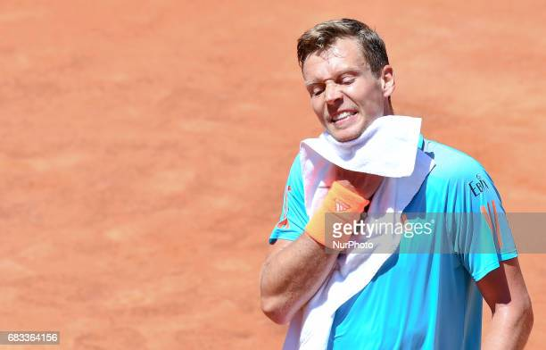 Tomas Berdych reacts during his match against Mischa Zverev Internazionali BNL d'Italia 2017 on May 15 2017 in Rome Italy
