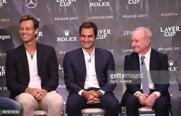 Tomas Berdych Roger Federer and Rod Laver attend Laver Cup Team Announcement on August 23 2017 in New York City