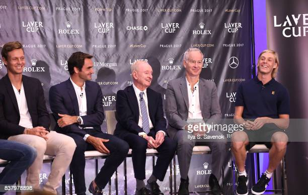 Tomas Berdych Roger Federer Rod Laver John McEnroe and Denis Shapovalov attend Laver Cup Team Announcement on August 23 2017 in New York City