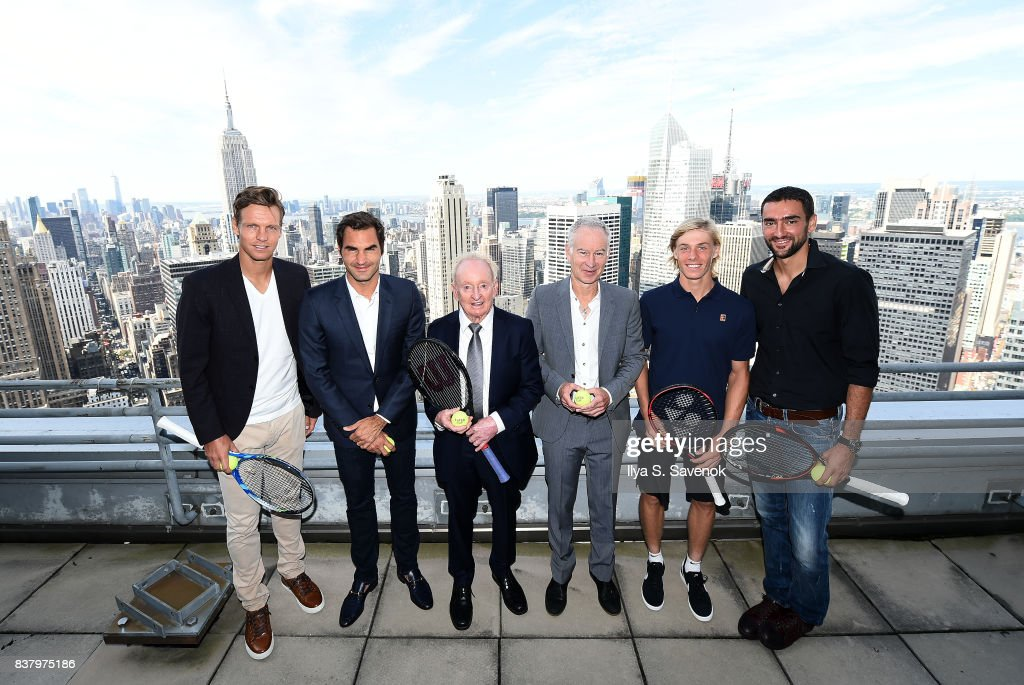 Tomas Berdych, Roger Federer, Rod Laver, John McEnroe, Denis Shapovalov and Marin Cilic attend Laver Cup Team Announcement on August 23, 2017 in New York City.