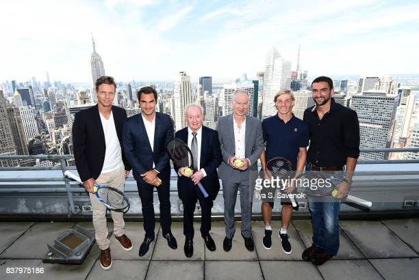 Tomas Berdych Roger Federer Rod Laver John McEnroe Denis Shapovalov and Marin Cilic attend Laver Cup Team Announcement on August 23 2017 in New York...